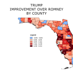 Trump in Florida – Improvement in Vote County Over Romney